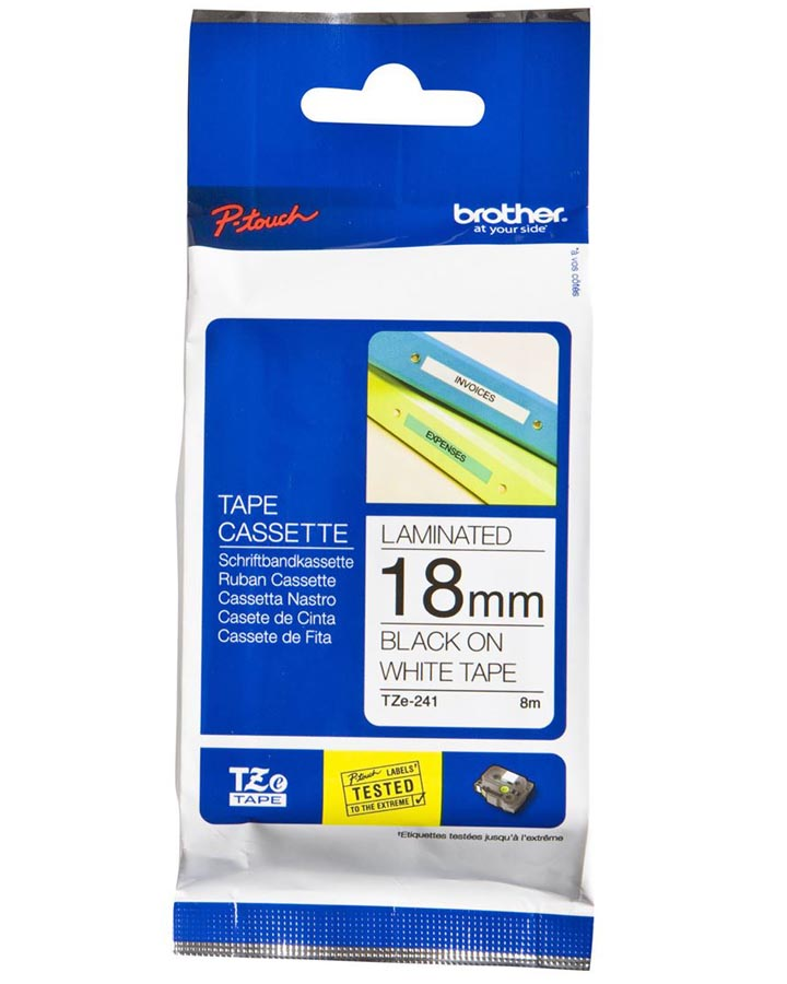 Brother Strong Adhesive TZe Tape - Black on White - 18mm