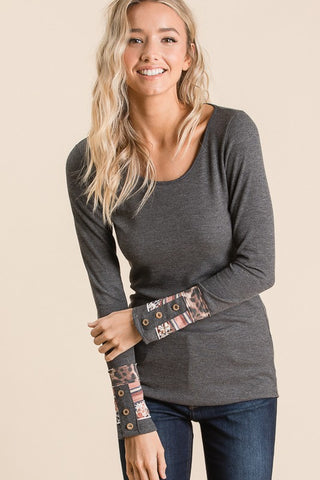 Mallory Button Cuff Thermal Top