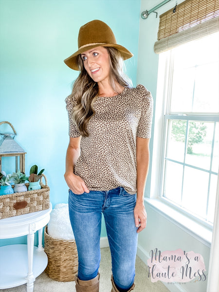 Quinn Puff Sleeve Animal Print Top