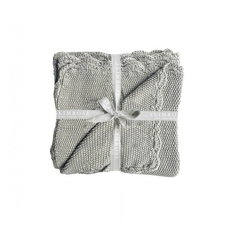 Alimrose | Knit Mini Moss Stitch Blanket Grey