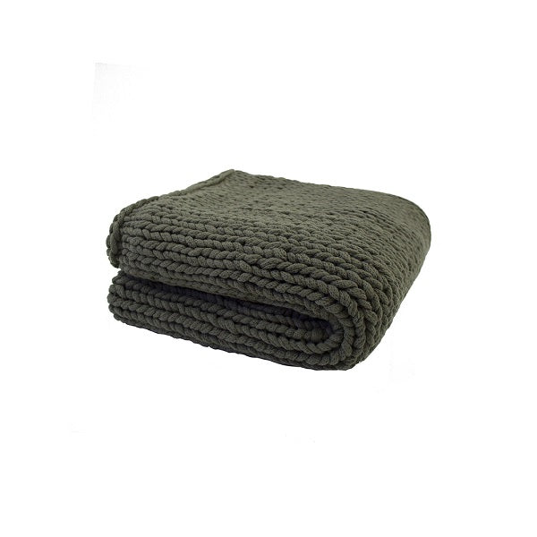 Chunky Knit Throw Olive