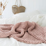 Chunky Knit Throw Rosewater