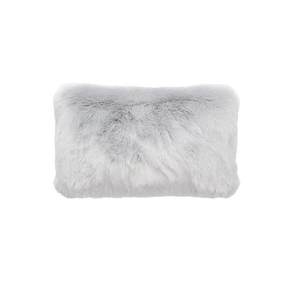 Plain Faux Fur Rectangular Silver | Cushion