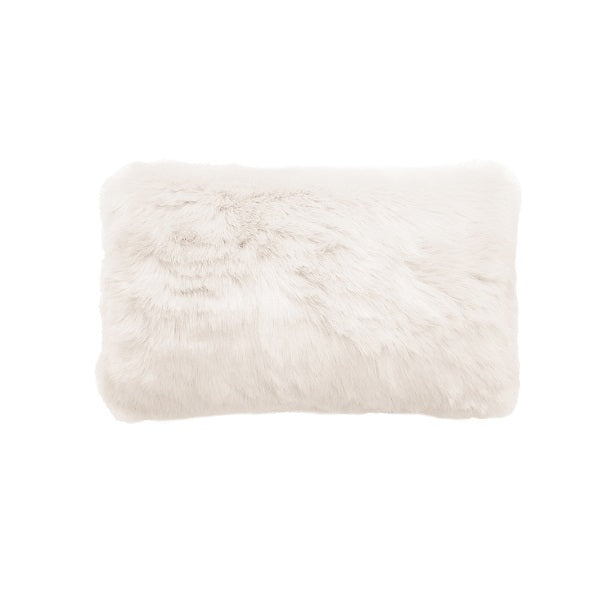 Plain Faux Fur Rectangular Ivory | Cushion