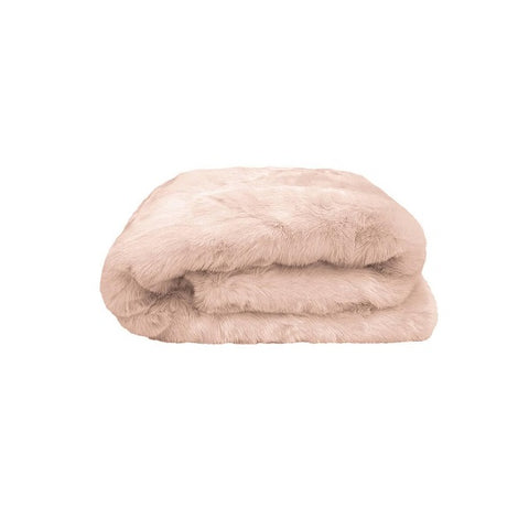 Plain Faux Fur Throw Nude