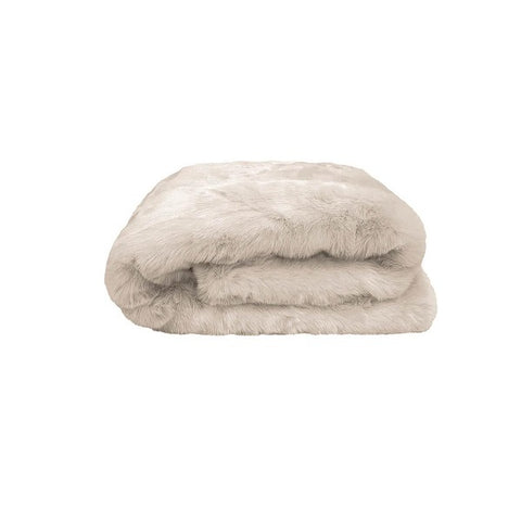Plain Faux Fur Throw Pebble