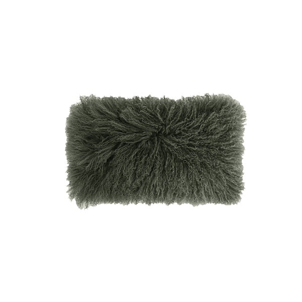 Mongolian Lambswool Breakfast Cushion Olive