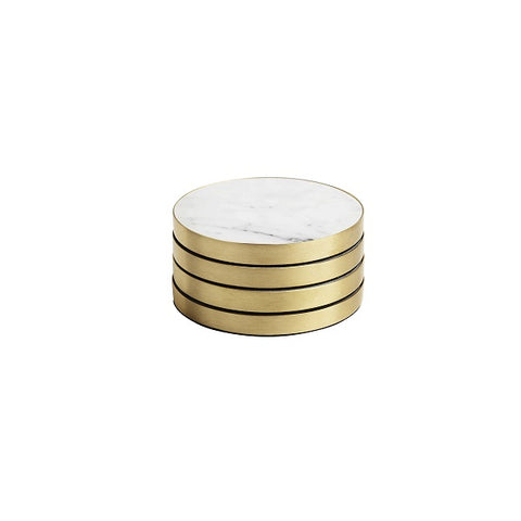 Behr & Co | GEO Coasters Brass & Carrara - Set of 4