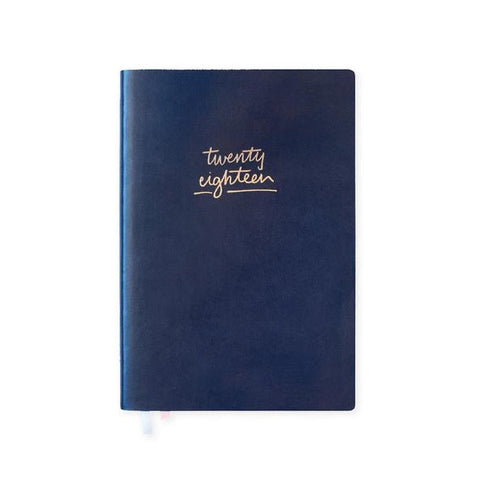 Blushing Confetti | 2018 Navy Leather Green Floral Agenda