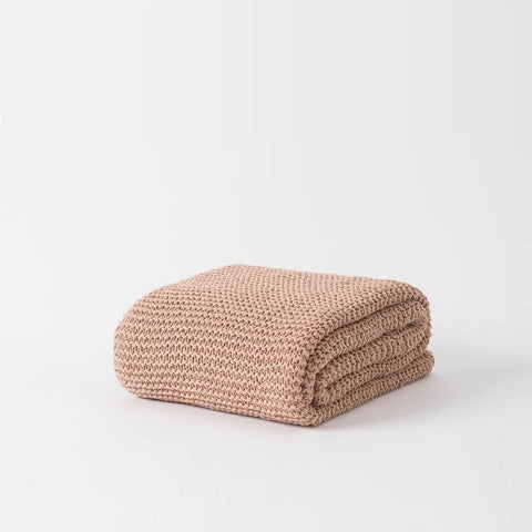 Citta Design |  Purl Stitch Cotton Throw Iced Tea