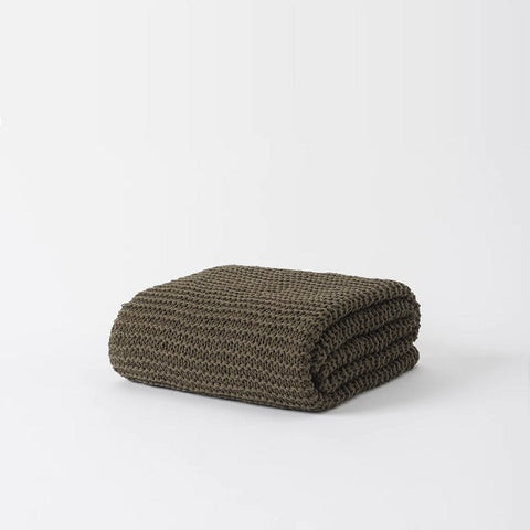 Citta Design | Purl Stitch Cotton Throw Seaweed