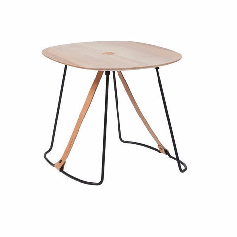 Cuero Design | Leather & Madera Side Table