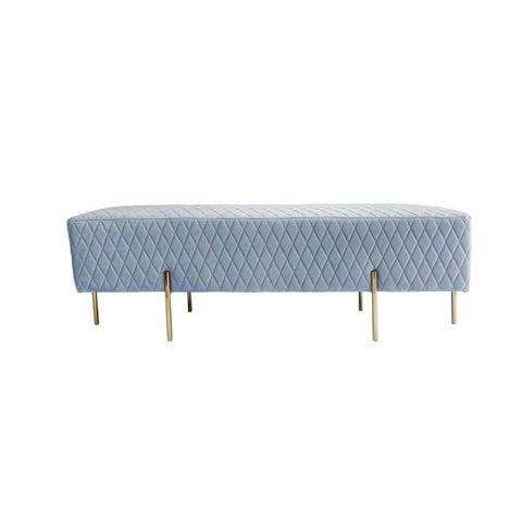 Darcy & Duke | Coco Quilted Ottoman - Blue Grey | Furniture