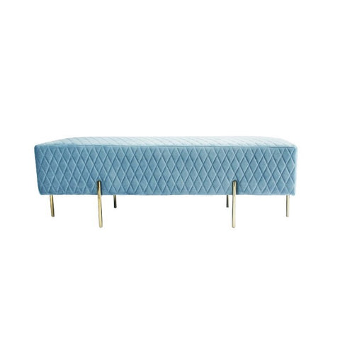 Darcy & Duke | Coco Quilted Ottoman - Dusty Blue | Furniture