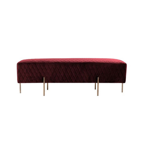 Darcy & Duke | Coco Quilted Ottoman - Merlot | Furniture
