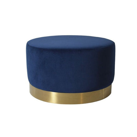 Milan Velvet Ottoman Large - Navy | Furniture