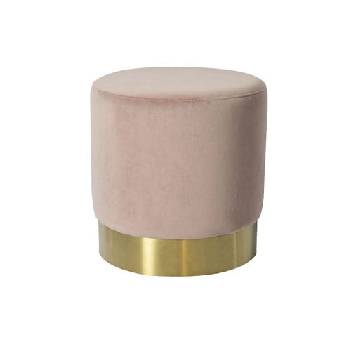 Milan Velvet Ottoman Small - Blush | Furniture