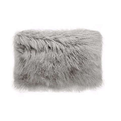 Tibetan Fur Lumbar - Grey Cushion