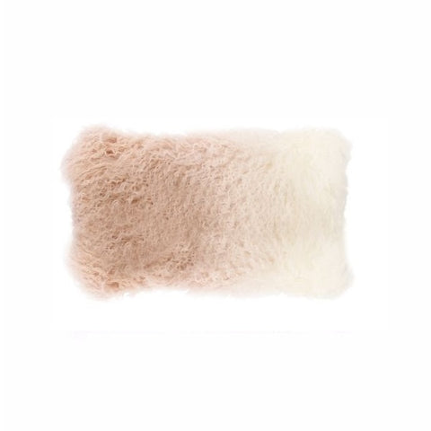 Tibetan Fur Lumbar - Ivory Blush Ombre Cushion
