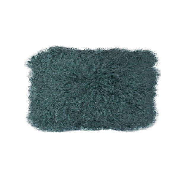 Tibetan Fur Lumbar - Peacock Cushion