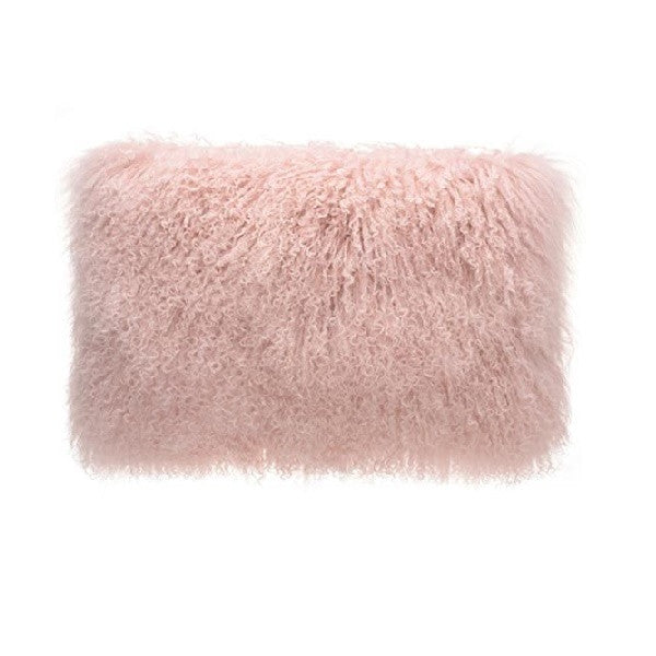 Tibetan Fur Lumbar - Pink Cushion