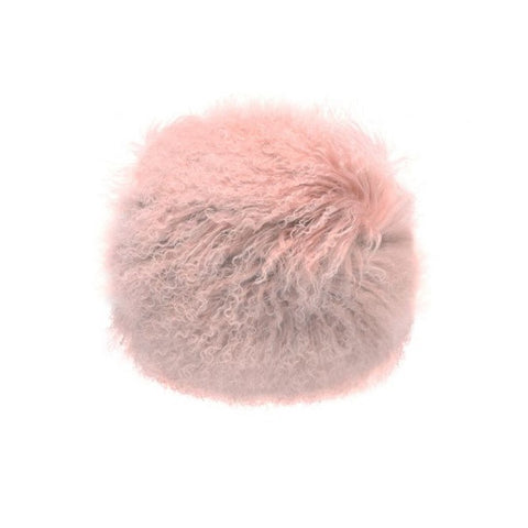 Tibetan Fur Round - Pink Cushion