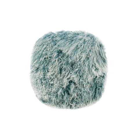 Tibetan Fur Round - Blue Snowflake Cushion