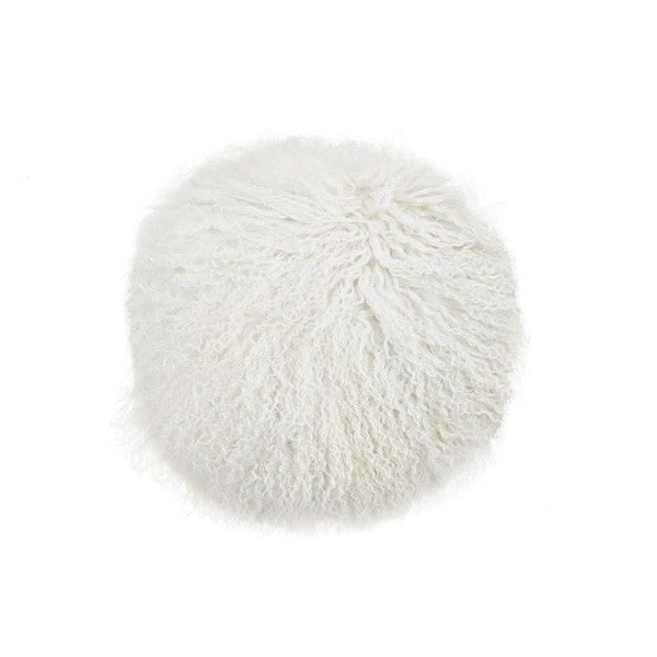 Tibetan Fur Round - Natural White Cushion
