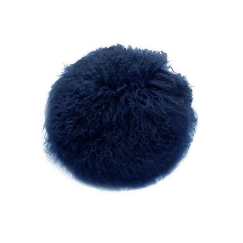 Tibetan Fur Round Cushion - Navy