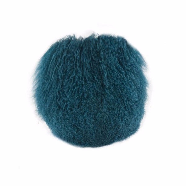 Tibetan Fur Round Peacock - Cushion