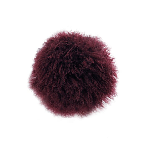 Tibetan Fur Round Cushion - Plum
