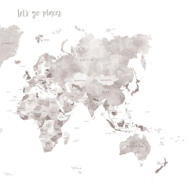 Emma Kate Co World Map Canvas A Grey COCO - World map canvas grey