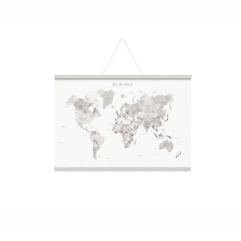 Emma Kate Co | World Map Canvas A1 Grey + Art Hangers Set