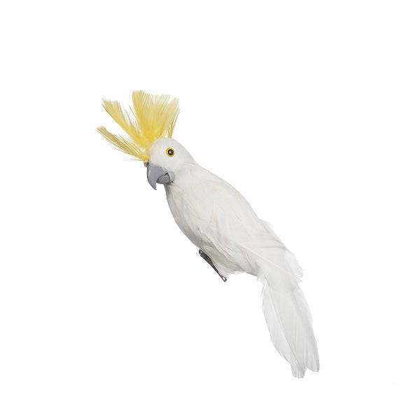 Ornament | Bird Cockatoo White Yellow 25cm | Christmas