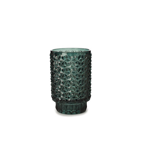 Candle Holder Glass Round Dark Green | Decor