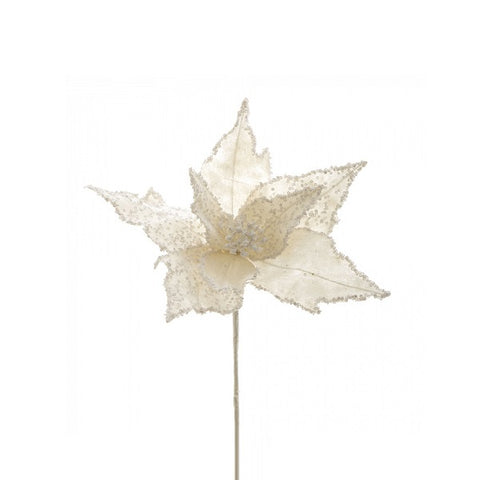 Floral | Poinsettia Stem White 76cm | Christmas