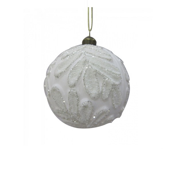 Ornament | White Glass Bauble With Leaf Motif Round | Christmas