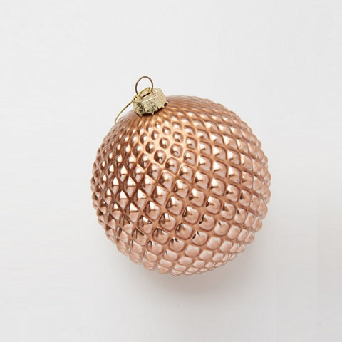 Bauble - Glass Dimple Copper Ball | Christmas