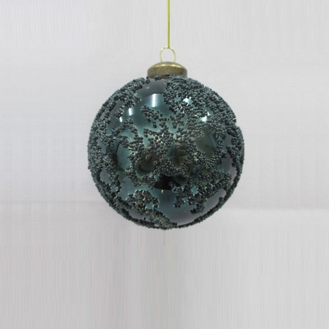 Bauble - Green Glass Distressed | Christmas