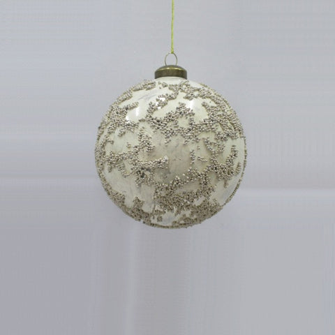 Bauble - Silver Glass Distressed | Christmas