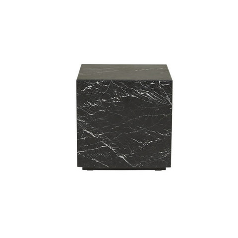 Globe West | Elle Block Square Side Table - Black Marble | Furniture
