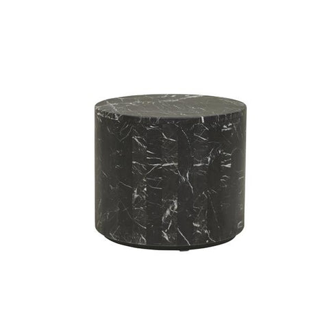 Globe West | Elle Round Block Side Table - Black Marble | Furniture