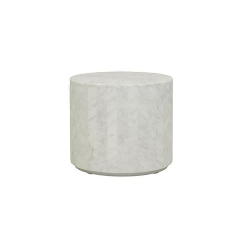 Globe West | Elle Round Block Side Table - White Marble | Furniture