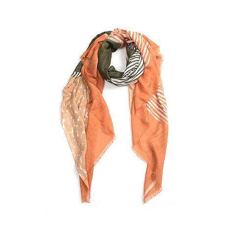 Indus Design | Organic Layers Scarf Peach / Olive