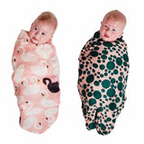 Kip & Co | Bamboo Swaddle Set - Swanette Pink & Lilypad Pond