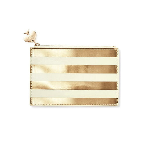 Kate Spade NY | Pencil Pouch Gold Stripe | Stationery