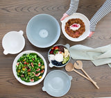 Mint Home | Willow Small Salad Bowl with Handle - White