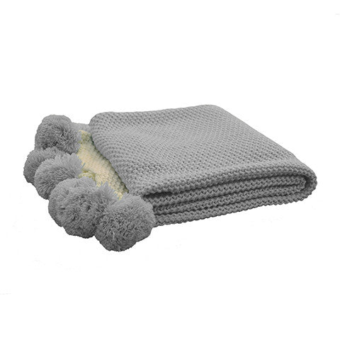 Baby Blanket | Pom Pom Light Grey Throw