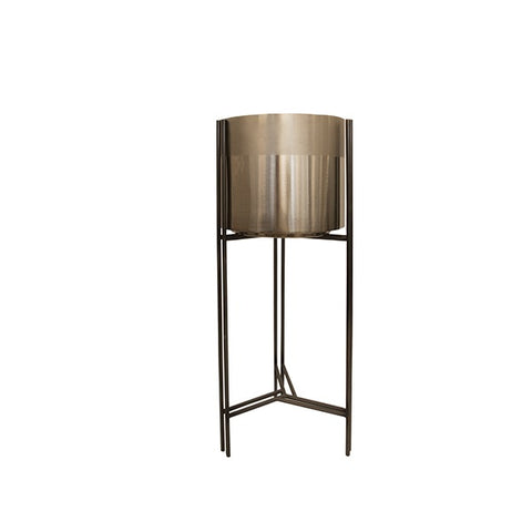 Decor | Portland Gold Planter with Stand High