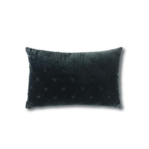 Vienna Cross Velvet Cushion Black Rectangle